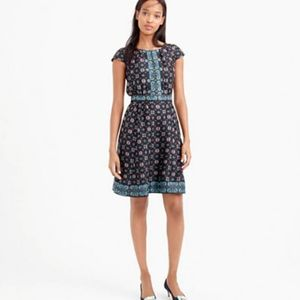 J.Crew Silk Cap-Sleeve Dress in Mirrored Floral
